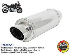 Universal Motorrad Auspuff Schalldämpfer Edelstahl für Kawasaki Suzuki 170262-01