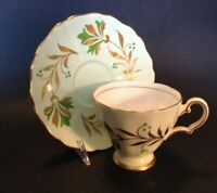 Grosvenor Pedestal Teacup And Saucer - Pale Green - Green And Gold - England