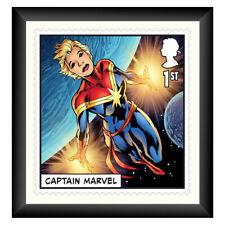 More details for collectable stamp print marvel captain marvel framed royal mail®