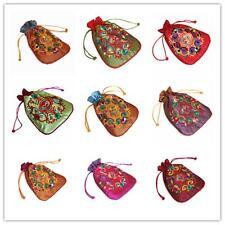 Silk Brocade Jewellery Bag Pouch Embroidery Wedding Drawstring 10 Colour 12x17cm