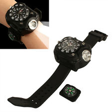 Tactical Rechargeable Wrist Watch LED Flashlight Torch Compass Light 200LM【US】