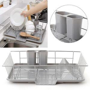 Dish Drainer Kitchen Sink Basket Cutlery Draining Tray Drip Board Plates Holder