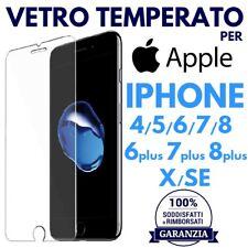 PELLICOLA IN VETRO TEMPERATO PER APPLE IPHONE 4/5/6/7/8/X/SE/PLUS TEMPERED GLASS