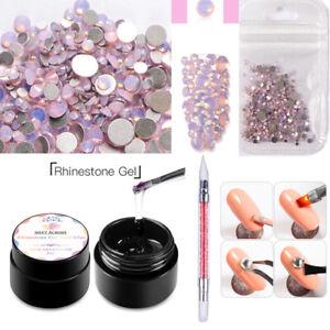3Pcs/set Nail Art Rhinestone Glue Gel Adhesive Crystal Dotting Pen Polish Decor