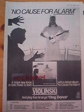 "VIOLINSKI No Cause For Alarm 1979 UK Poster size Press ADVERT 16x12"""