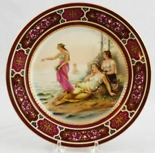 """Antique Royal Vienna Artist Signed Heer Hand Painted & Jeweled Plate 8-7/8"""""""