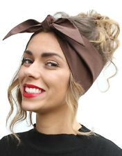 Chocolate Brown Vintage 50s Style Pin Up Bow Head Scarf Bandana