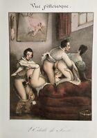 Erotic Nude Sex Akt Penis Breast Vagina Erotik Antique Love Art Lithography 1840