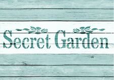 Stencil,SECRET GARDEN, garden, signs,Shabby Chic,fabric, furniture