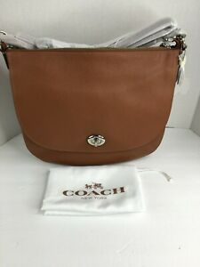 New Coach Pebbled Leather Turnlock Hobo in Saddle Silver Style 36762 Tan