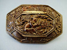 late 18thC OCTAGONAL CARVED HORN / PEWTER RIMMED LIDDED SNUFF BOX, c 1790-1820.