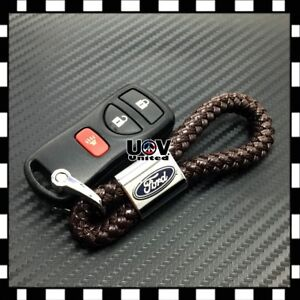 Brown Leather Metal Alloy Keychain Ford Emblem Logo Gift Decoration Accessories