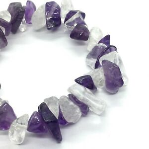 Amethyst & Clear Quartz Bracelet with Chunky Chips 5 -20 mm chips