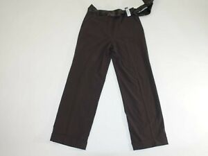 Larry Levine Women's Dress Pants Size 10 x 30 NWT Classic Rise Chocolate Brown