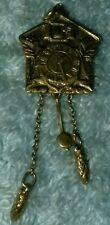 Antique Vintage 14kt Yellow Gold Cuckoo Dutch Wall Clock Charm Necklace Pendant