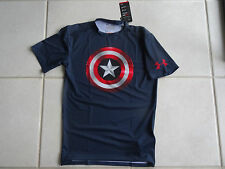 NEW MEN'S UNDER ARMOUR HEATGEAR ALTER EGO CAPTAIN AMERICA COMPRESSION T-SHIRT MD