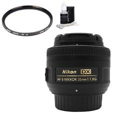 Nikon AF-S DX NIKKOR 35MM f/1.8G Lens + UV filter +Cleaning kit.