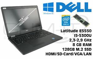 Dell Latitude E5550 Intel i5-5300U 2,3GHz 8GB RAM 128GB M2 SSD Win10