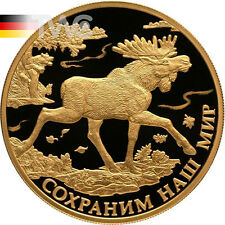 Russia 2015 200 rubles Elk Elch Moose Protect Our World Proof Au Coin