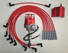 FORD 351C/M 400-429-460 SMALL HEI DISTRIBUTOR + RED 50K COIL +8MM PLUG WIRES USA