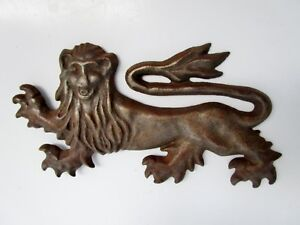 Coin Of Parement-Lion Heraldic Metal Ouvragé-blason IN Half Round Dent