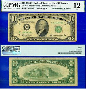 Error Note - 1950-D $10 FRN (( Crazy Rare - Mismatched STAR )) PMG 12 # 00816*-
