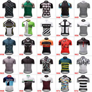 Men's Polyester Cycling Jersey Short Sleeve Bike Shirt Maillots Pockets MTB Tops