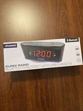 New ListingSylvania Clock Radio Bluetooth Stream Music Usb Charger Dual Alarm Led Light New