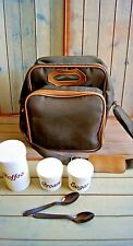 Vintage Travel Coffee Set with Plastic Spoons & Containers with Bag Brown Picnic