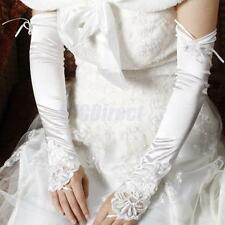 """18"""" WHITE FINGERLESS LACE STRETCH SATIN BRIDAL WEDDING PROM PARTY COSTUME GLOVES"""