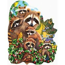 STRAWBERRY PATCH Mary Thompson - 1000 piece SunsOut SHAPED Puzzle Racoons -  NEW
