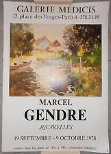 AFFICHE EXPO Galerie Médicis MARCEL GENDRE Aquarelles 1978