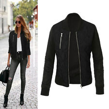 Womens Thicken Check Zipper Jacket Biker Short Coat Sweater Cardigan Bomber Tops