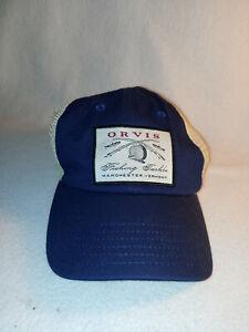 Men Orvis Fishing Navy Blue Mesh Cap Baseball Hat Size One Size