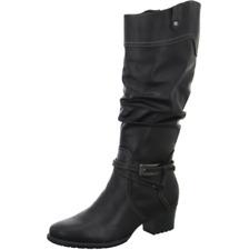 Tamaris Womens UK 6 EU 39 Black Knee High Zip Up Block Heel New Slouch Boots