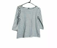 Ann Taylor Loft S Top White Black Striped Boat Neck 3/4 Sleeve Zipper Back