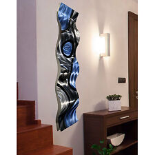 3D Blue & Silver Metal Wall Art Sculpture - Contemporary Home Decor by Jon Allen