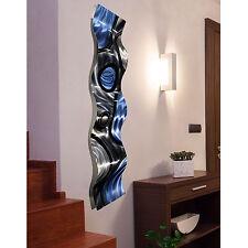 3D Blue & Silver Metal Wall Art Sculpture - Contemporary Home Decor by Jon Allen