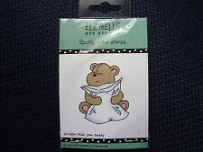 Elzybells Rubber Stamp, Miss You Teddy, hugging pillow