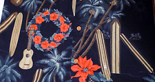 Paradise Found Hawaiian Men's Shirt 2XL Christmas Guitars Poinsettia Surfboard