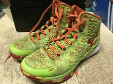 USED MENS Under Armour Curry One 1 CANDY REIGN NEON 1258723-390 SZ 8 FREE SHIP