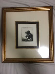 REMBRANDT 1634 Etching SIGNED Woman Reading Original Durand w/ COA  Framed