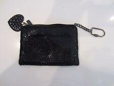 "Felix Rey Black Sequin Keychain 6""x4"" Zipped Pouch"