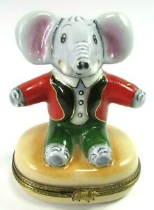 Limoges France Hinged Trinket Jewelry Box Circus Elephant Oval Box Mouse Inside