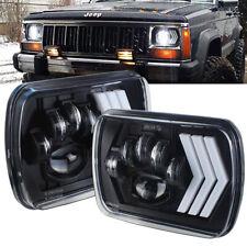 7x6 5x7 LED Headlight for Jeep Cherokee XJ Truck Ford Rectangular DRL Amber Turn