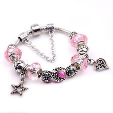 Women Fashion 925 Sterling Silver Pink Crystal Heart Lucky Star Braclet