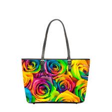 Colorful Rose Shoulder Bag Women Handbag Purse Leather PU Handbags Shopper Tote