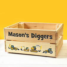 Personalised Kids Toy Diggers Wooden Storage Toy Box Construction Vehicles Crate