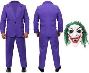 PURPLE SUIT HALLOWEEN COSTUME ADULTS CLOWN MASK MOVIE OUTFIT VILLAIN FANCY DRESS