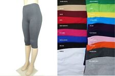 WOMEN COTTON SPANDEX MISSES N PLUS CAPRI LEGGINGS GYM YOGA 20 COLORS S-5XL